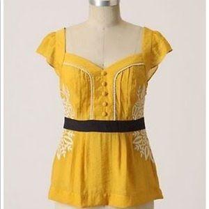 Yellow black Anthropologie blouse
